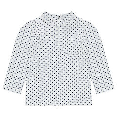 Thin mock turtleneck sweater with allover polka dots
