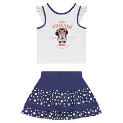Ensemble with a tank top featuring a ©Disney Minnie Mouse print and a frilled skirt