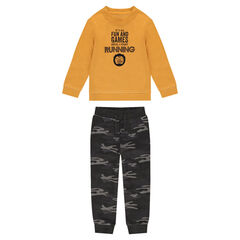 Mustard yellow fleece sweatsuit with army pants