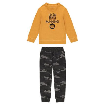 Mustard yellow fleece sweatsuit with army pants