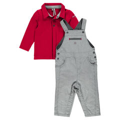 Long sleeve polo shirt and long striped overall