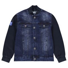 Junior - Letterman-style denim jacket with fleece sleeves