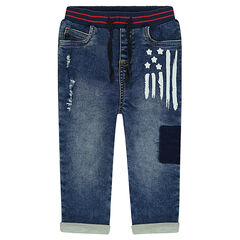 Used-effect jeans with a paint-effect print and worn details