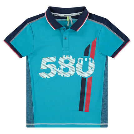 Junior - Short-sleeved polyester polo shirt with printed numbers and messages