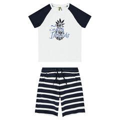 Ensemble with a printed tee-shirt and striped bermuda shorts