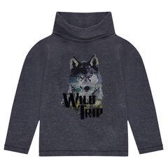 Long-sleeved tee-shirt with a printed wolf