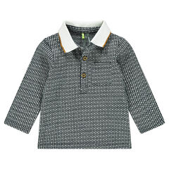 Long-sleeved polo shirt with an allover jacquard motif