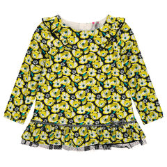 Frilled tunic with allover flower print and tulle