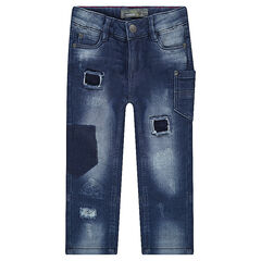 Used-effect denim-like jeans with tears and pockets