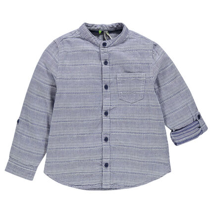 Long-sleeved shirt with mao collar and pocket