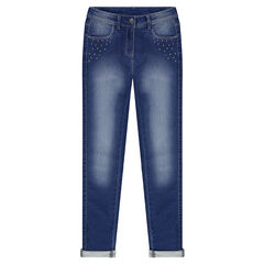 Junior - Used-effect fleece jeans with studs
