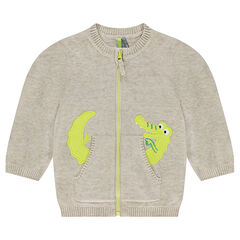 Knitted cardigan with pockets and embroidered crocodile