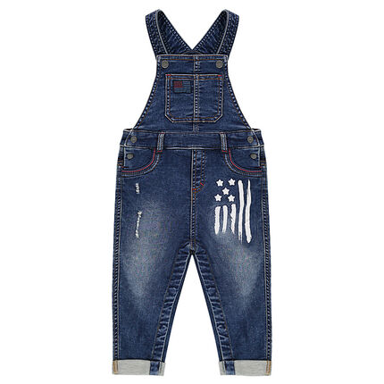 Used denim-like long overalls with a paint-effect print