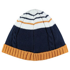 Knit cap with contrasting stripes
