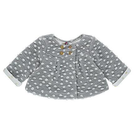 Popcorn knit jacket with printed jersey lining