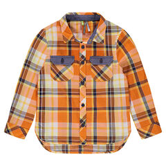 Long sleeve shirt with contrast check