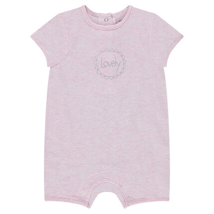 Short playsuit for newborns with decorative message