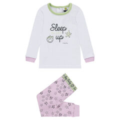 Jersey pajamas with a ©Smiley print and pants with an allover print