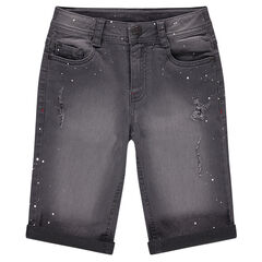 Junior - Used denim bermuda shorts with paint-effect stains