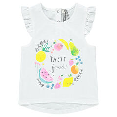 Slub jersey tank top with decorative multicolored print