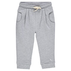 Plain-colored, fleece baggy pants