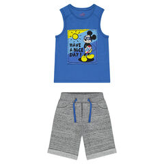 Ensemble with a tank top featuring a ©Disney Mickey Mouse print and heathered fleece bermuda shorts