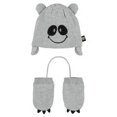 Cap and mittens ensemble with embroidered ©Smiley details