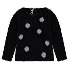 Fur-effect knit sweater with sequined polka dots