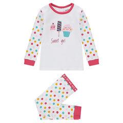 Jersey pajamas with printed treats and polka dots