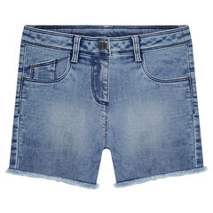 Junior - Used-effect denim shorts