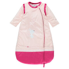 Velvet sleeping bag with removable sleeves and embroidered rabbit