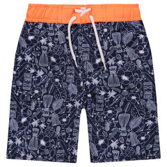 Printed all-over swim shorts with contrasting waist