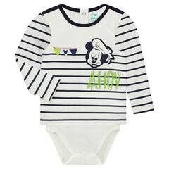 2-in-1 effect long-sleeved bodysuit with Disney Mickey Mouse print