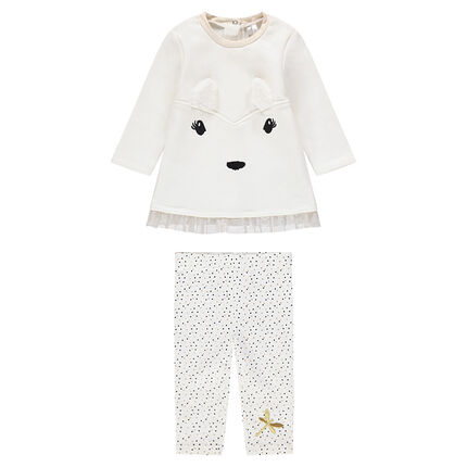 Ensemble with a tunic featuring 3D ears and polka-dotted leggings