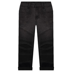 Used-effect slim fit jeans with ripped legs