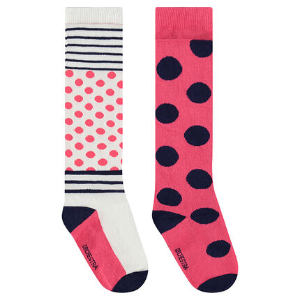 2-pair set of thick tights with polka dots and stripes
