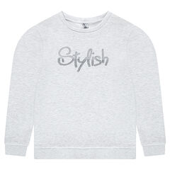Junior - Fleece sweatshirt with a sparkly printed text