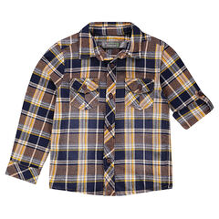 Plaid shirt with rollable sleeves