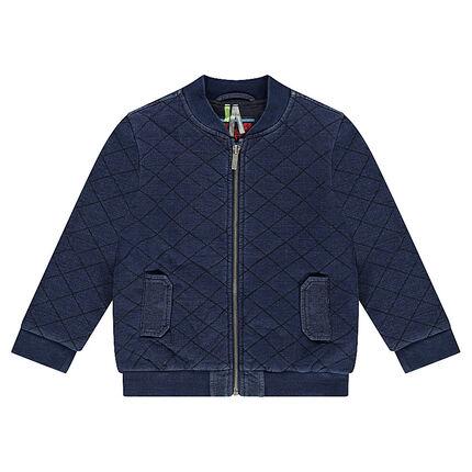 Denim-effect letterman-style jacket with lattice detail