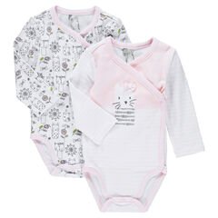 Set of 2 printed jersey bodysuits for newborns