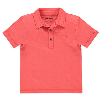 Short-sleeved jersey polo shirt.