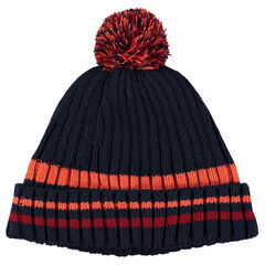 Fleece lined knit hat with pompom