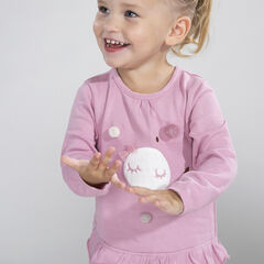 Long-sleeved jersey tee-shirt with sherpa moon and pompoms