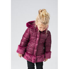 Sherpa-lined padded parka with fake fur details