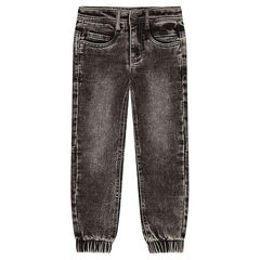 Denim-effect fleece pants