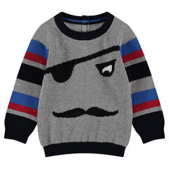 Knit sweater with a jacquard pirate motif and contrasting bands
