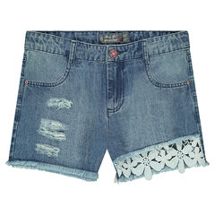 Junior - Used-effect denim shorts with guipure flowers