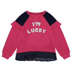 2-in-1 effect fleece sweatshirt with polka dot ruffle.