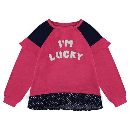 2-in-1 effect fleece sweatshirt with polka dot ruffle.