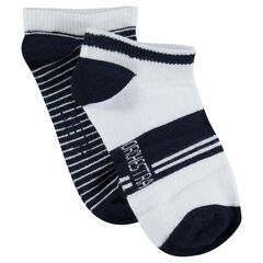 Set of 2 pairs of ankle socks with jacquard stripes